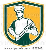 Vector Clip Art of Retro Male Chef or Baker Holding a Rolling Pin in a Yellow White and Green Shield by Patrimonio