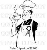 Vector Clip Art of Retro Male Chef Smelling Coffee by BestVector
