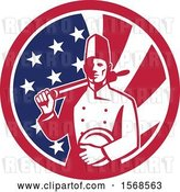 Vector Clip Art of Retro Male Chef with a Plate and Rolling Pin in an American Flag Circle by Patrimonio