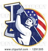 Vector Clip Art of Retro Male Construction Worker Carrying an I Beam and Emerging from an American Flag Circle by Patrimonio
