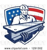 Vector Clip Art of Retro Male Construction Worker Carrying an I Beam and Emerging from an American Flag Shield by Patrimonio