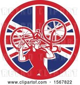 Vector Clip Art of Retro Male Cyclist Carrying a Bicycle on His Back in a Union Jack Flag Circle by Patrimonio