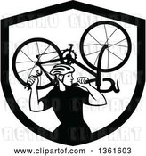 Vector Clip Art of Retro Male Cyclist Carrying a Bicycle on His Back Inside a Shield by Patrimonio