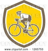 Vector Clip Art of Retro Male Cyclist in a Brown White and Yellow Shield by Patrimonio