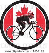 Vector Clip Art of Retro Male Cyclist in a Canadian Flag Circle by Patrimonio