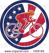 Vector Clip Art of Retro Male Cyclist in an American Flag Circle by Patrimonio