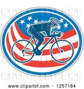 Vector Clip Art of Retro Male Cyclist in an American Flag Oval by Patrimonio