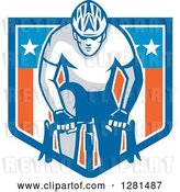 Vector Clip Art of Retro Male Cyclist in an American Flag Shield Banner by Patrimonio
