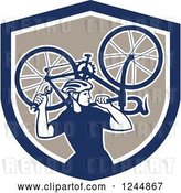 Vector Clip Art of Retro Male Cyclist Repair Guy Holdig up a Bike in a Shield by Patrimonio