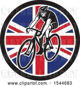 Vector Clip Art of Retro Male Cyclist Riding a Bicycle in a Union Jack Flag Circle by Patrimonio