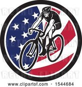 Vector Clip Art of Retro Male Cyclist Riding a Bicycle in an American Flag Circle by Patrimonio