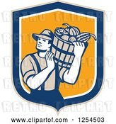 Vector Clip Art of Retro Male Farmer Carrying a Harvest Bushel Bucket in a Blue and Orange Shield by Patrimonio