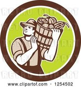 Vector Clip Art of Retro Male Farmer Carrying a Harvest Bushel Bucket in a Brown and Green Circle by Patrimonio