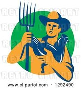 Vector Clip Art of Retro Male Farmer Holding a Hen and Pitchfork over a Green Circle by Patrimonio