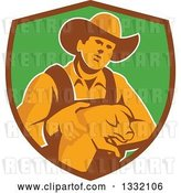 Vector Clip Art of Retro Male Farmer Holding a Piglet in a Brown and Green Shield by Patrimonio