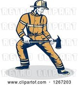 Vector Clip Art of Retro Male Firefighter Holding an Axe by Patrimonio