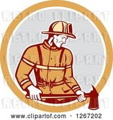 Vector Clip Art of Retro Male Firefighter Holding an Axe in an Orange White and Gray Circle by Patrimonio
