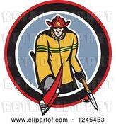 Vector Clip Art of Retro Male Firefighter with an Axe and Hook in a Circle by Patrimonio
