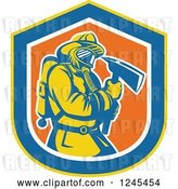Vector Clip Art of Retro Male Firefighter with an Axe in a Shield by Patrimonio