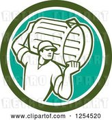 Vector Clip Art of Retro Male Garbage Guy Carrying a Can in a Green Circle by Patrimonio