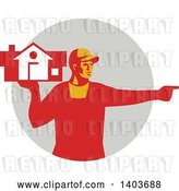 Vector Clip Art of Retro Male House Remover or Mover Holding a Home and Pointing, in Red Tones over a Gray Circle by Patrimonio