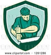 Vector Clip Art of Retro Male Lumberjack Using a Crosscut Saw in a Shield by Patrimonio