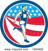 Vector Clip Art of Retro Male Marathon Runner over an American Stars and Stripes Circle by Patrimonio