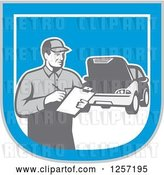 Vector Clip Art of Retro Male Mechanic with a Clipboard and Car in a Blue White and Gray Shield by Patrimonio