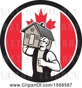 Vector Clip Art of Retro Male Mover Holding a House in a Canadian Flag Circle by Patrimonio