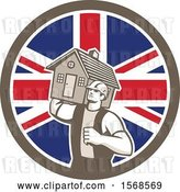 Vector Clip Art of Retro Male Mover Holding a House in a Union Jack Flag Circle by Patrimonio