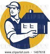 Vector Clip Art of Retro Male Mover Holding a House in a Yellow Circle by Patrimonio