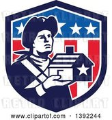 Vector Clip Art of Retro Male Patriot Soldier Holding a Home in an American Shield by Patrimonio