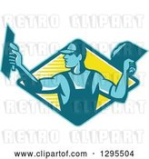 Vector Clip Art of Retro Male Plasterer Working in a Blue and Yellow Diamond by Patrimonio