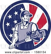 Vector Clip Art of Retro Male Plumber Holding a Large Monkey Wrench in an American Flag Circle by Patrimonio
