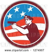 Vector Clip Art of Retro Male Police Officer Aiming a Firearm in an American Flag Circle by Patrimonio