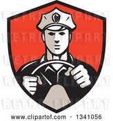 Vector Clip Art of Retro Male Police Officer Driving with Both Hands on the Steering Wheel in a Red and Black Shield by Patrimonio