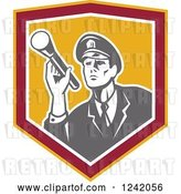 Vector Clip Art of Retro Male Police Officer or Security Guard Shining a Flashlight in a Shield by Patrimonio