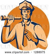 Vector Clip Art of Retro Male Police Officer Shining a Flashlight and Pointing over an Orange Circle by Patrimonio