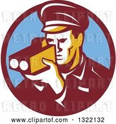 Vector Clip Art of Retro Male Police Officer Using a Speed Radar Camera in Maroon and Blue Circle by Patrimonio