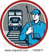 Vector Clip Art of Retro Male Pressure Washer Worker in a Circle with a Train and Tracks by Patrimonio
