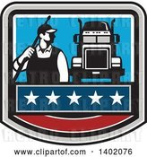 Vector Clip Art of Retro Male Pressure Washer Worker Standing with a Wand over His Shoulder by a Big Rig Truck in a Crest by Patrimonio