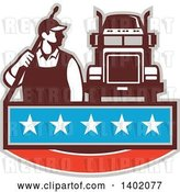 Vector Clip Art of Retro Male Pressure Washer Worker Standing with a Wand over His Shoulder by a Big Rig Truck over a Banner with Stars by Patrimonio