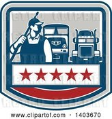 Vector Clip Art of Retro Male Pressure Washer Worker Standing with a Wand over His Shoulder with Big Rig Trucks over a Banner with Stars by Patrimonio