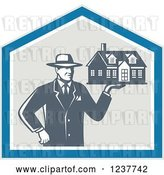 Vector Clip Art of Retro Male Real Estate Agent Holding a House in a Shield by Patrimonio