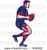 Vector Clip Art of Retro Male Rugby Player Athlete Running with the Ball by Patrimonio