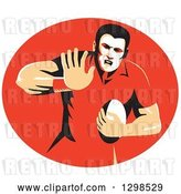 Vector Clip Art of Retro Male Rugby Player Fending in a Red Oval by Patrimonio