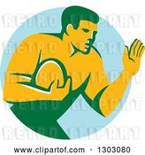 Vector Clip Art of Retro Male Rugby Player Fending off in a Blue Circle by Patrimonio