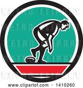 Vector Clip Art of Retro Male Rugby Player in a Black Red White and Turquoise Circle by Patrimonio