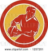 Vector Clip Art of Retro Male Rugby Player in a Red White and Yellow Circle by Patrimonio