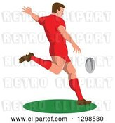 Vector Clip Art of Retro Male Rugby Player Kicking by Patrimonio